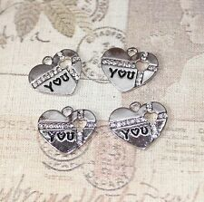 Cute silver plated heart charms/pendants with rhinestones x4