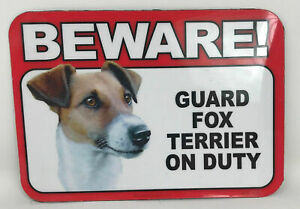 Beware! Guard Fox Terrier Dog On Duty Magnet Laminated Car Pet 6x4 New