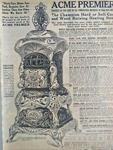 1911 Antique Acme Premier Heater Stove Art Sears Catalog Page Vintage Print Ad