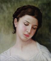 Quality Hand Painted Oil Painting Repro Bouguereau Head of a Young, 20x24in