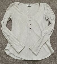 Cream Abercrombie & Fitch Fine Knit Ribbed Jumper Long Sleeve Top Size S