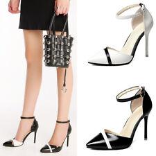 Ladies Ankle Strap High Heel Stiletto Sandals Women Grace Point-Toe Court  Shoes