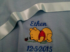 personalized boy / girl  pink or blue baby winnie the pooh  cot blankets