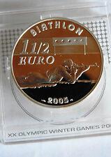 France 1,5 euro 2005 Biathlon Turin pièce neuve en TTB