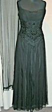 "JOHN CHARLES 16 Black Embellished Evening Dress 42""Bust GAUZY +SCARF Lined PARTY"