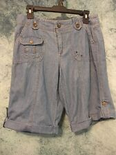 "Womens Size 6 x 12"" KHAKIS & CO Cuffed  Denim Long Jean Shorts  Bermuda"