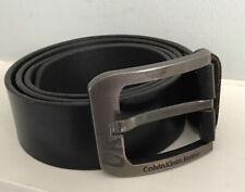 Calvin Klein Men's Black Leather Belt Large Branded Buckle 100cm