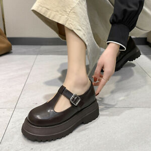 Womens Mary Jane T-Strap Pumps Platform Mid Heel Chunky Lolita Buckle Shoes