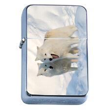 Windproof Refillable Flip Top Oil Lighter Wolf D1 Wilderness Animal Dog Hunter
