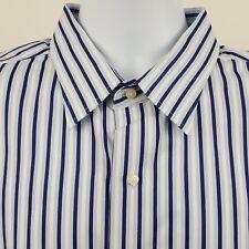 Tommy Bahama Blue White Striped Men's L/S Dress Collar Button Shirt 17 1/2 36-37