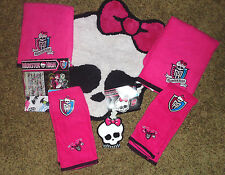 Monster High DOLL BATHROOM shower curtain rug 4 towels soap dispencer 7 Pieces