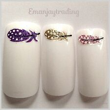 Nail Art  Decals/Stickers/ Transfers #108 Coloured Glittery Feathers