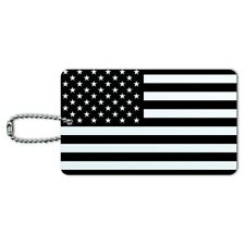 Subdued American USA Flag Black White Military Tactical Luggage ID Tag