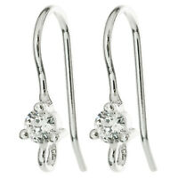 2x Sterling Silver CZ Crystal Ear Wire Earwires French Hook