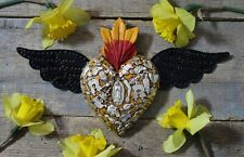 Handmade Wood Yellow Heart Tin Wings Milagros Miracle Mexican Folk Art Michoacán