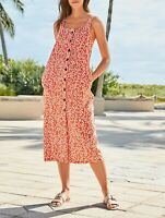 NEXT Orange Floral Print Linen Blend Midi Dress Size 16 BNWT RRP £34 Holiday🌴💛