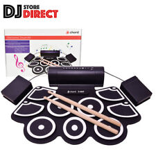 Chord D-MAT USB Powered Electronic Drum Pad Kit Tabletop + Drum Sticks & Pedals