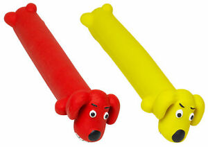 Latex Loofa Squeaky Dog Toy Petface Throw Chew Interactive Puppy Play Red Yellow