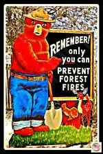 TODAY'S SPECIAL! 50% OFF! U.S. FOREST SERVICE SMOKEY BEAR METAL SIGN USA MADE