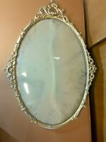 "Vintage antique round bubble glass brass picture frame 19.5"" x 13.5"""