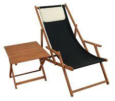 Chaise longue noir Balcon Lit soleil de plage Table jardin 10-305 T KH