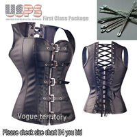Ladies Black Spiral Steel Boned Overbust Lace corset Sexy bustier Top Size S-6XL