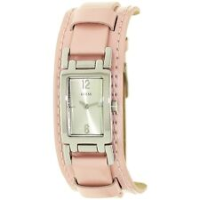 NEW-GUESS PINK,ROSE PATENT LEATHER CUFF+RECTANGLE SILVER TONE DIAL WATCH G66701L