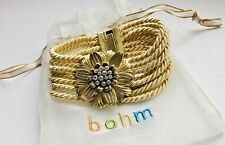 Bohm Jewellery Blossoms Gold & Crystal Flower Multiple Strand Gold Cord Bracelet