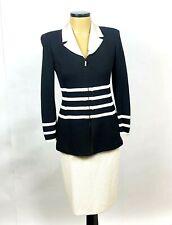 ST. John knits Jacket Sz 6  Skirt Sz 10 Set Black Ivory Removable Silk Collar