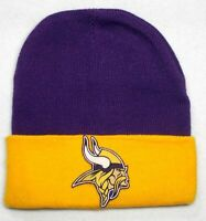READ LISTING! Minnesota Vikings HEAT Applied Flat Logo on Beanie Knit Cap hat