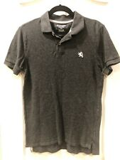 Express Pique Polo Charcoal Gray Size Medium Short Sleeve Fitted