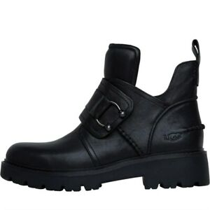 UGG Womens Mitcham 90s inspired ankle boots crafted in a rich leather black
