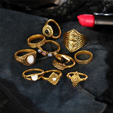 10Pcs/Set Vintage Fashion Jewelry Alloy Ring Sets Crystal Opal Knuckle Rings