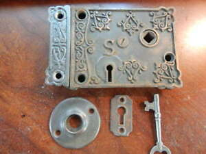 Ornate Door Rim Lock Shapleigh Hardware Co. Brass Bolts (RL 278)