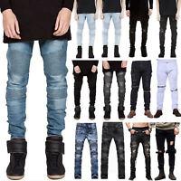 Mens Slim Fit Biker Jeans Pants Casual Skinny Ripped Denim Long Trousers Bottom