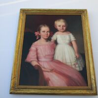 ANTIQUE MASTER PORTRAIT PAINTING  YOUNG CHILDREN GIRLS  19TH CENTURY ESTATE ART
