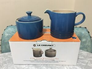 Le Creuset Coffee Café Creamer Jug and Sugar Bowl Set Marseille Blue New In Box
