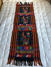 Table Runner Wall Hanging Woven Textile South America Mexico Folk Art Bird 5 Ft