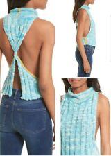NWT Free People $98 Large Laguna Tank Blue Rib Knit Twist Top Sweater Split Back