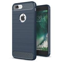 coque housse étui  iPhone 6/6S en silicone bleu effet métal brossé et carbone