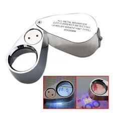 Metal 40x25mm Joyas Lupa LED&UV Joyería Joyero Loupe Magnifying Glass Magnifier