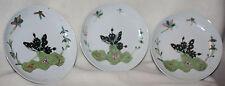 Chinese Set of Three 1910-1920s Mushroom Design Over glaze Porcelain Plates