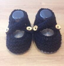 HAND KNITTED BLACK BABY SHOES 3-6 Months (10cm Sole)