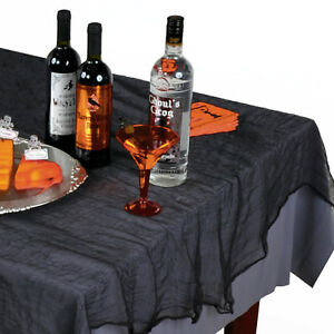 60inx84in Gothic Halloween Horror Party Black Cheesecloth Fabric Table Cover
