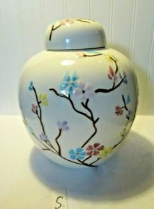 """Vintage Decorative Ginger Jar Lg Hand Painted Chinese Flowers Leaves 9"""" H (S)"""