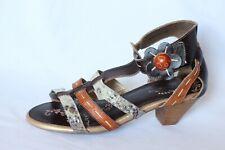 Spring Step Pleasure Blue Brown Strappy Sandal Heels Women 40 / US 9