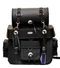 Motorbike Sissy Bar Bag 100% leather Black, Model PL2657