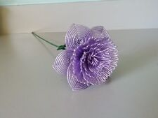 Handmade French beaded Flowers Large Peony flower lavender color