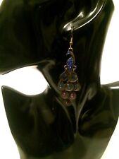 LONG Big Large Multi Coloured Crystal Diamante PEACOCK Bird Drop Dangle Earrings
