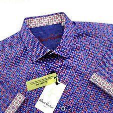 Robert Graham Classic Fit Geometric Red Blue Shirt Short Sleeve Mens $178